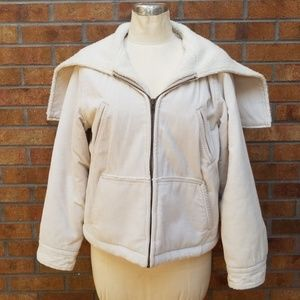 J crew*cream*corduroy*lined*jacket with a hood